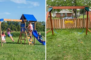 Swing set with kids playing on left, reviewer image of simple swing set on right