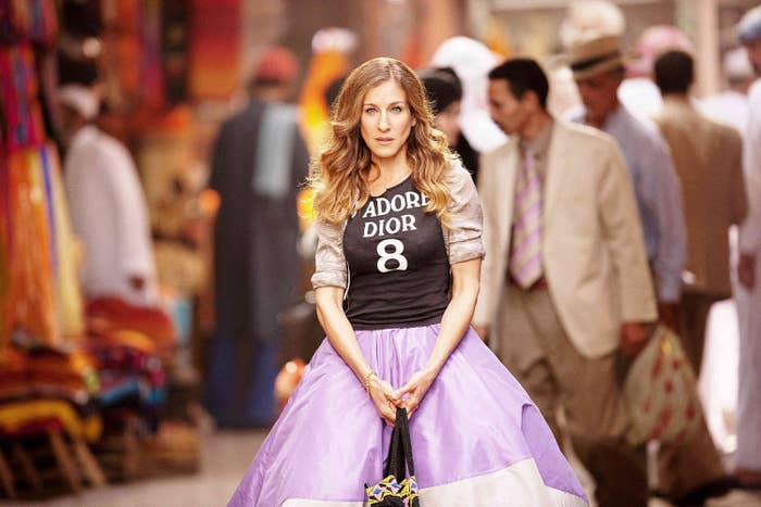 """Sarah Jessica Parker poses in a Dior top in 2010's """"Sex And The City 2"""" movie"""