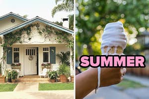 """On the left, a charming home with a front porch and exterior covered in vines, and on the right, someone holding a vanilla soft serve cone that's dripping down their hand labeled """"summer"""""""