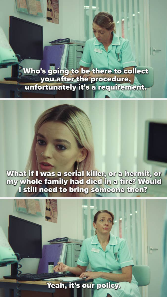 Maeve discusses her abortion procedure with a nurse