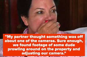 """Kris Jenner shocked, and the quote: """"My partner thought something was off about one of the cameras. Sure enough, we found footage of some dude prowling around on the property and adjusting our camera"""""""
