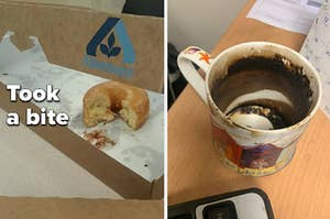 A coworker who took a bite out of a communal donut box and another one who never washes their coffee mug