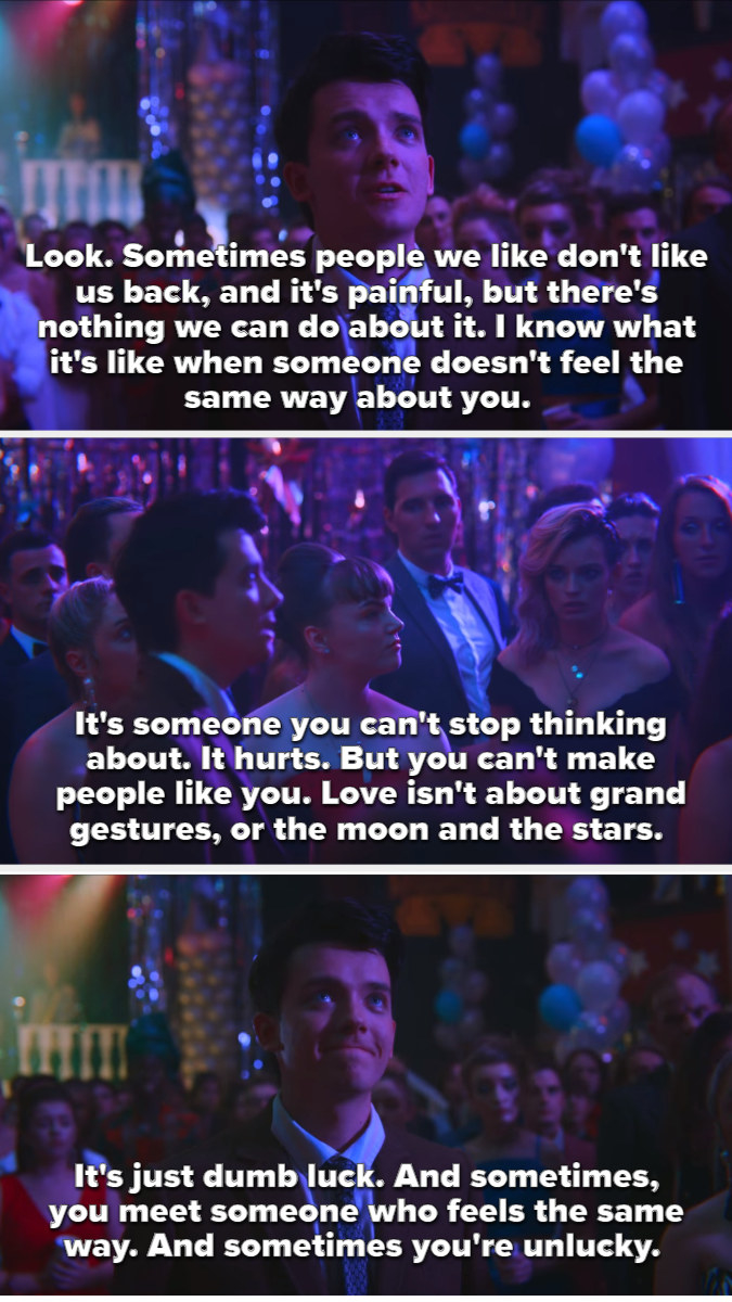 Otis giving a speech about unrequited love at prom