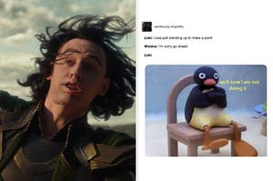 Loki falling in slow motion and a meme about Loki not wanting to stand up again