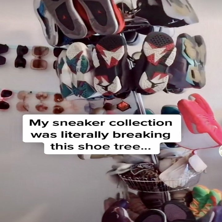 """the shoe tree display with text that reads: """"My sneaker collection was literally breaking this shoe tree..."""""""