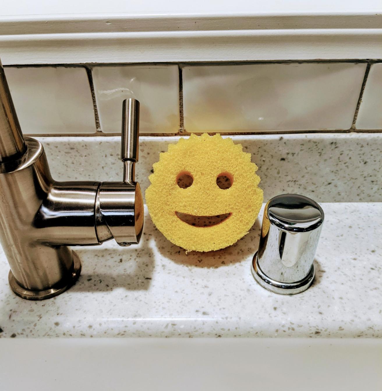 the textured sponge sitting next to a kitchen sink