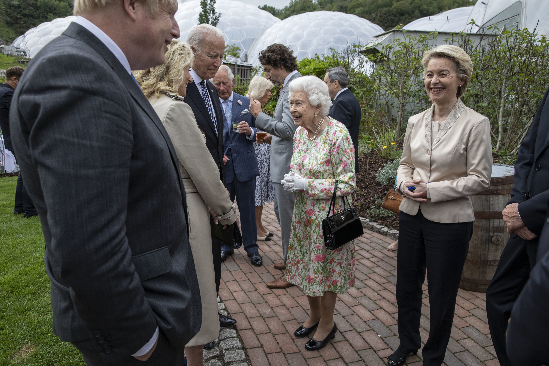 The Queen chats with the Bidens, while Boris Johnson speaks to a smiling Ursula von der Leyen