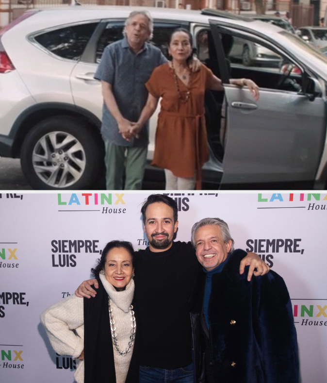 Lin's parents in the movie and on a red carpet
