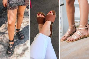 black sandals brown slip on sandals and strapped sandals
