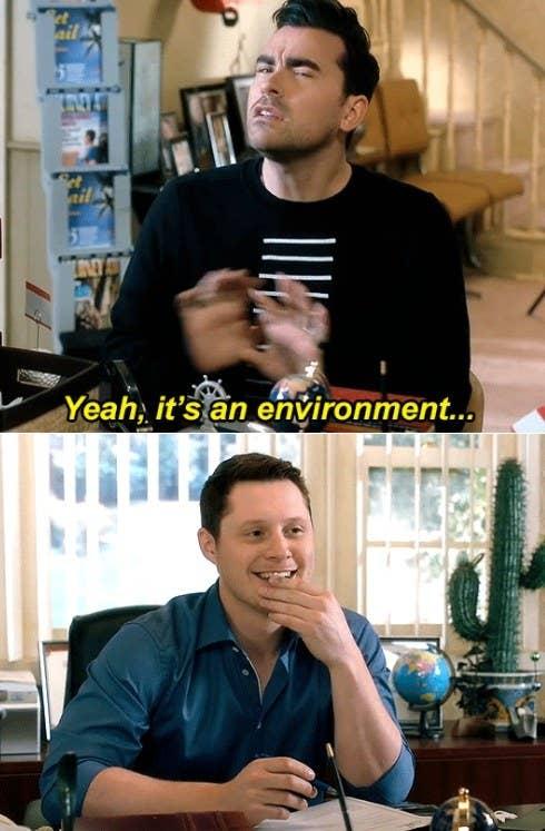 "David says ""yeah it's an environment"" while looking vague and Patrick looks at him smiling"