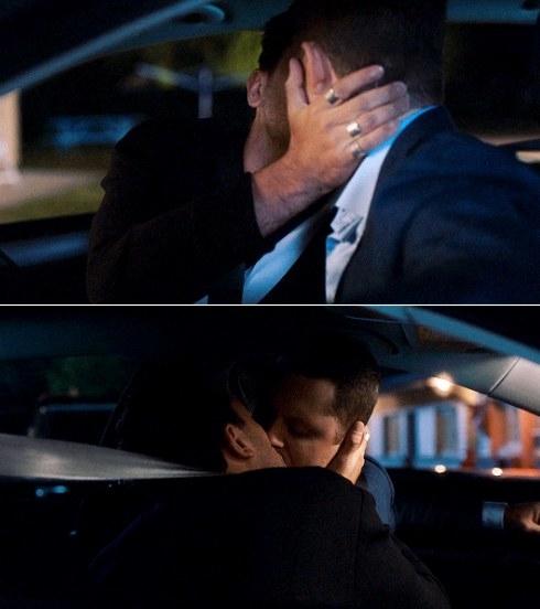David and Patrick kiss in the car