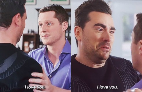 """David and Patrick say """"I love you"""" to each other while staring intently in each other's eyes"""