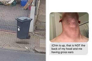 A floating trash can and a man with his chin up that makes it look like he has Shrek ears