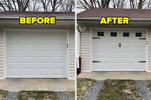 L: boring white garage door R: the same garage door with fancy new handles, hinges, and window decals