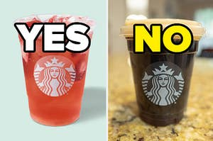 """A refresher is on the left labeled, """"YES"""" with an iced coffee on the right labeled, """"NO"""""""