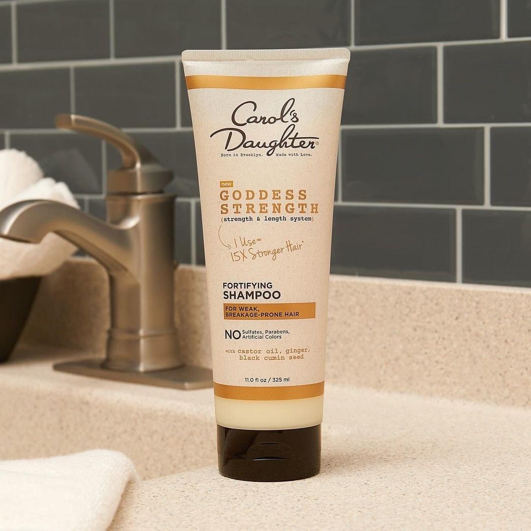 carol's daughter goddess strength shampoo on counter