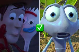 Woddy is hugging Forky on the left with Flik on the right and a check mark emoji