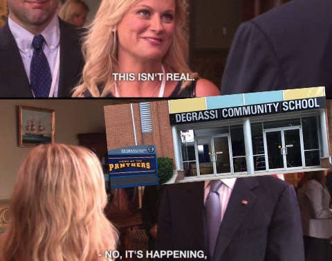 """meme of Leslie Knope meeting Joe Biden: """"This isn't real,"""" """"No it's happening"""" with photoshopped Degrassi school over Joe's head"""