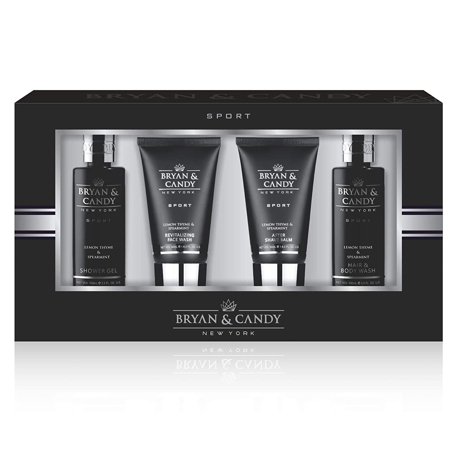 A shower kit that includes a shower gel, a face wash, after-shave balm and shampoo in sleek black tubes and bottles.