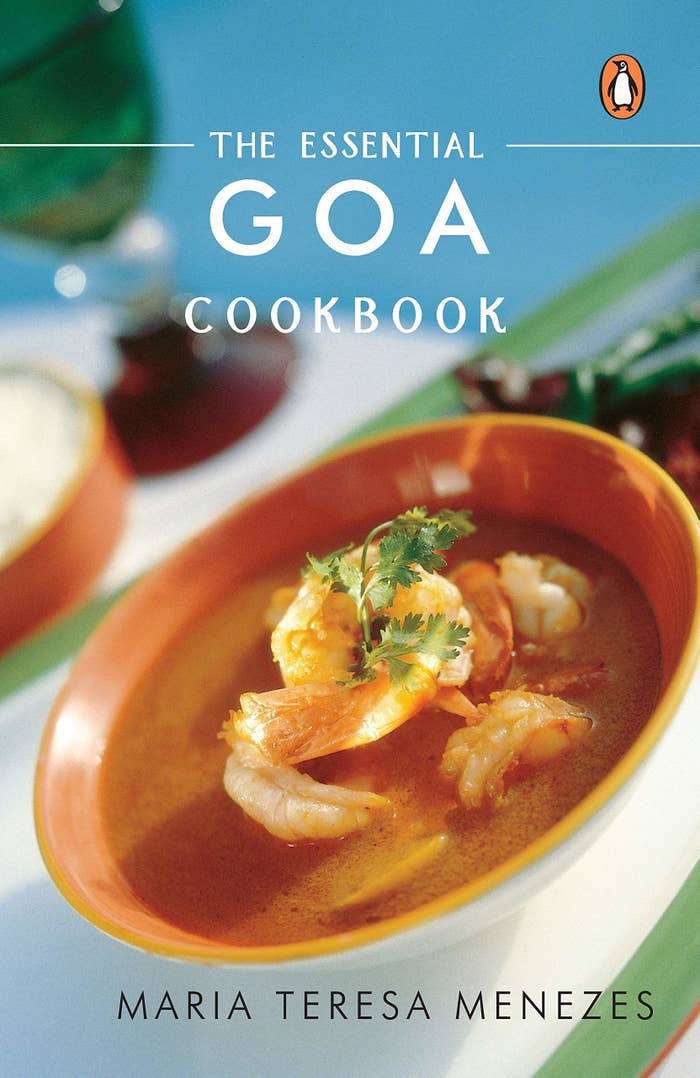 Cover of the Goan cookbook by Maria Teresa Menezes with the picture of a prawn curry on it