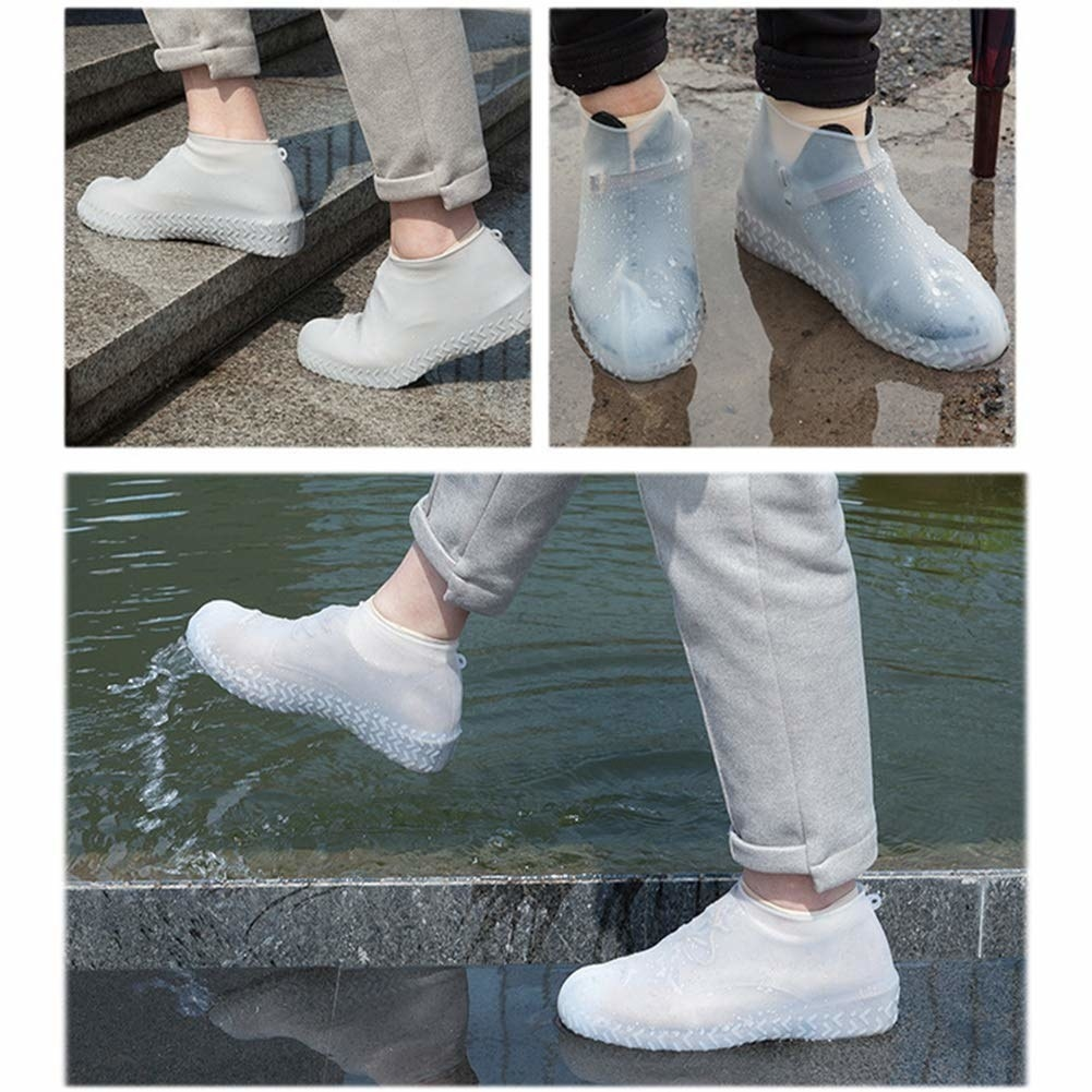 A 3-photo collage of someone wearing the silicone cover over their shoes while out in rain.