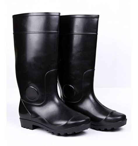A pair of black rain boots