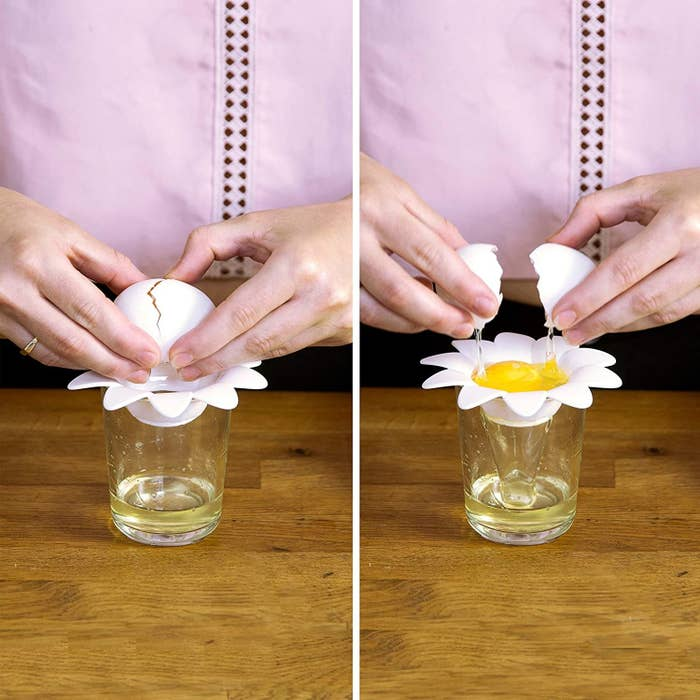 A person cracking an egg into the flower