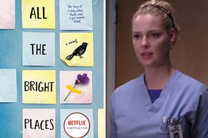 """""""All The Bright Places"""" book is on the left with A """"Grey's Anatomy"""" character is on the right"""