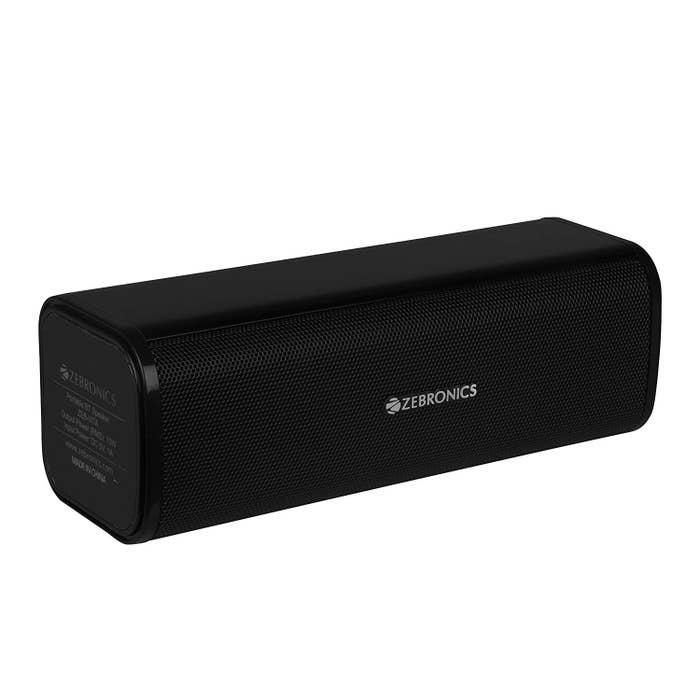 A black, cylindrical speaker.
