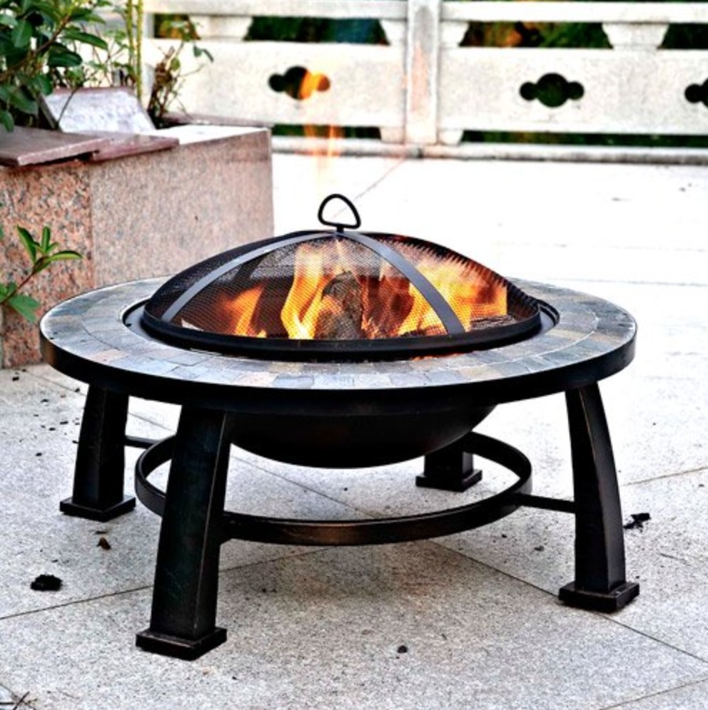 round fire pit with metal frame