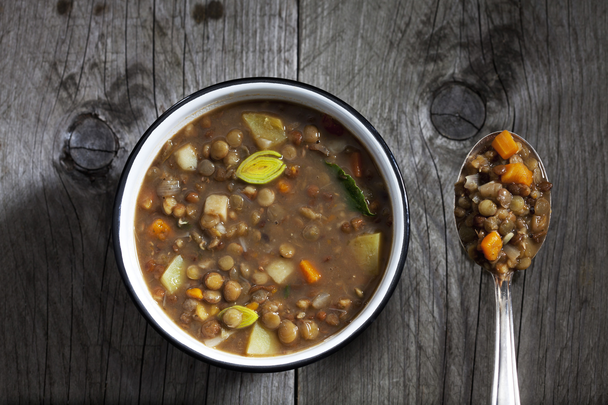A bowl of lentil soup.