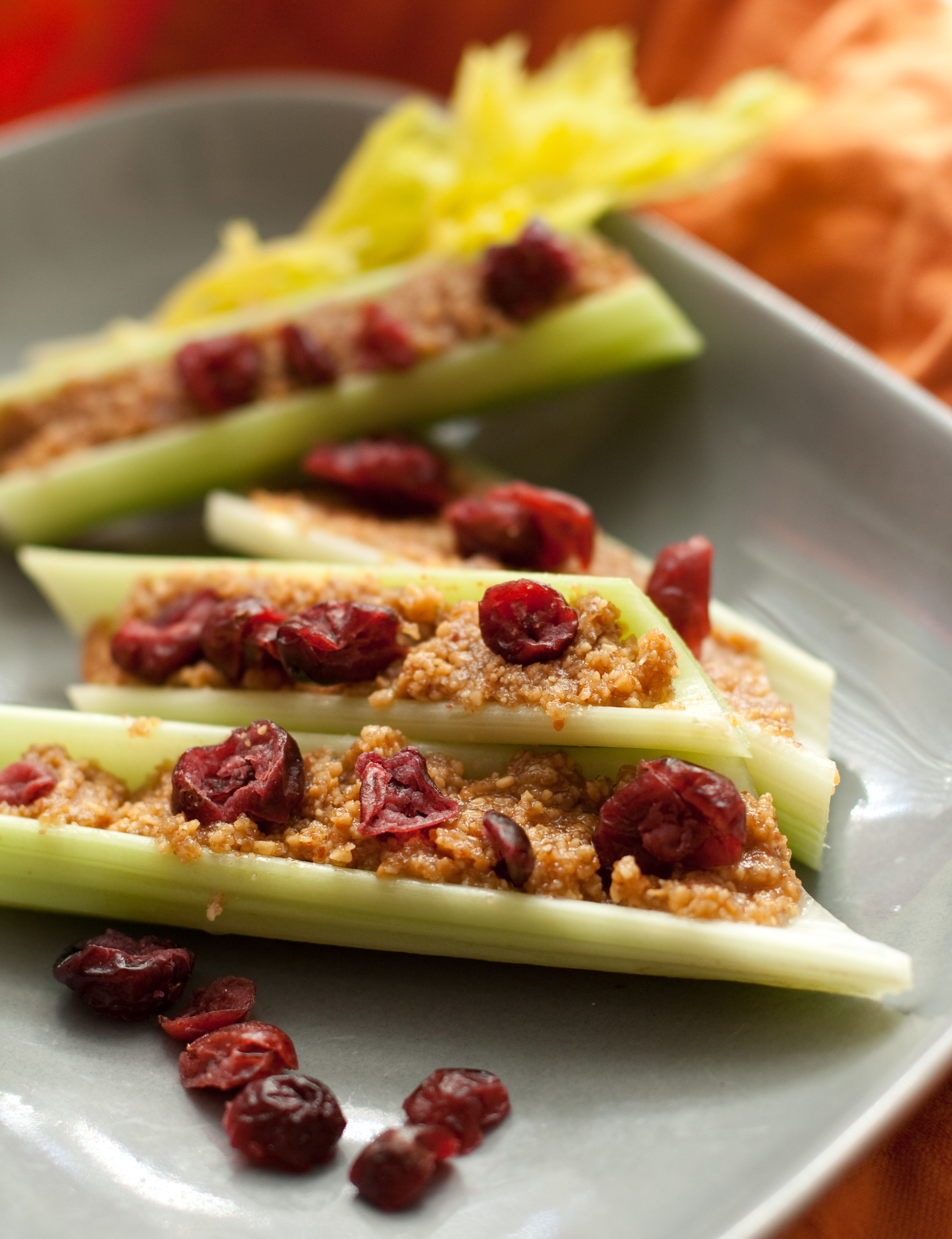 Celery with peanut butter and raisins.