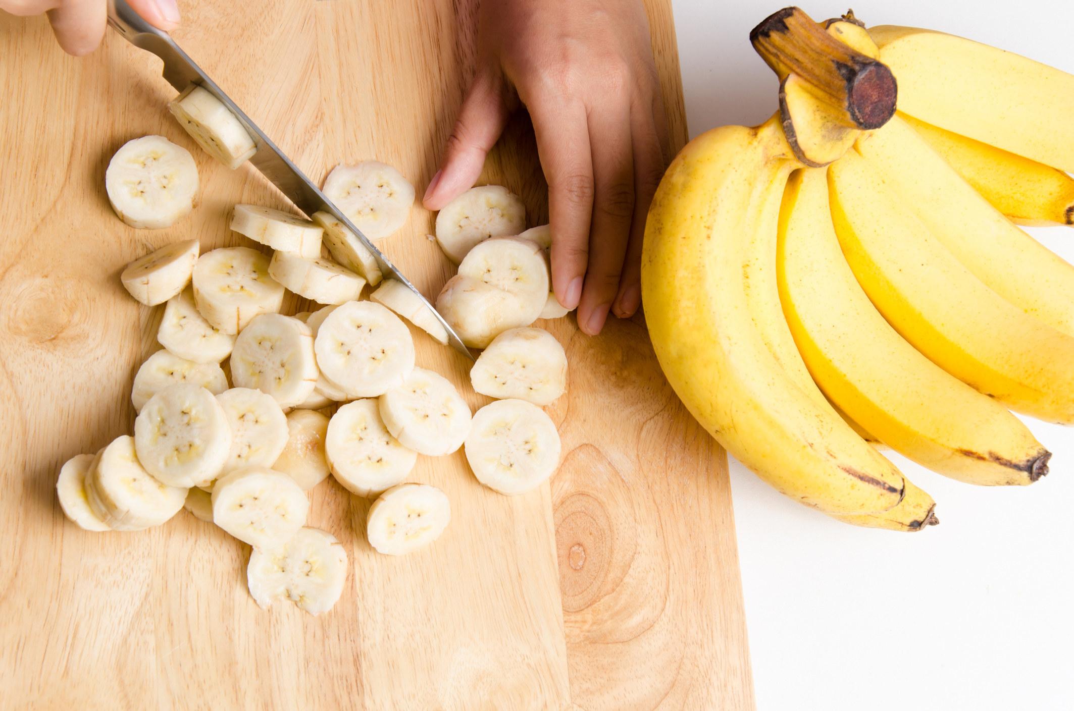 Slicing bananas.