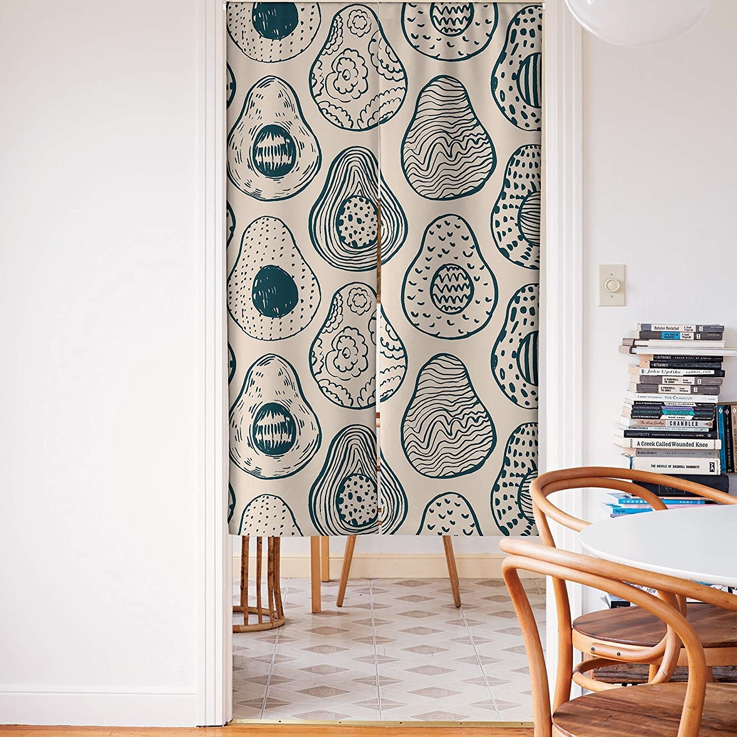 The curtain covering a door