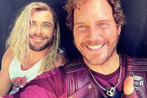 "Chris Hemsworth and Chris Pratt on the set of ""Thor Love and Thunder"""