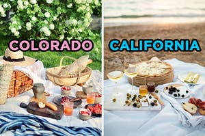 """On the left, a picnic blanket in a park with basket on top and various breads and jams labeled """"Colorado,"""" and on the right, a beach picnic, complete with berries, wine, and pizza labeled """"California"""""""