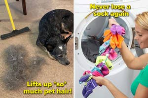 dog next to a pile of dog hair on the left and a person holding up a string of socks on the right