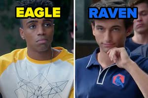 """Two members face each other with one on the left labeled """"Eagle"""" and another on the right labeled """"Raven"""""""