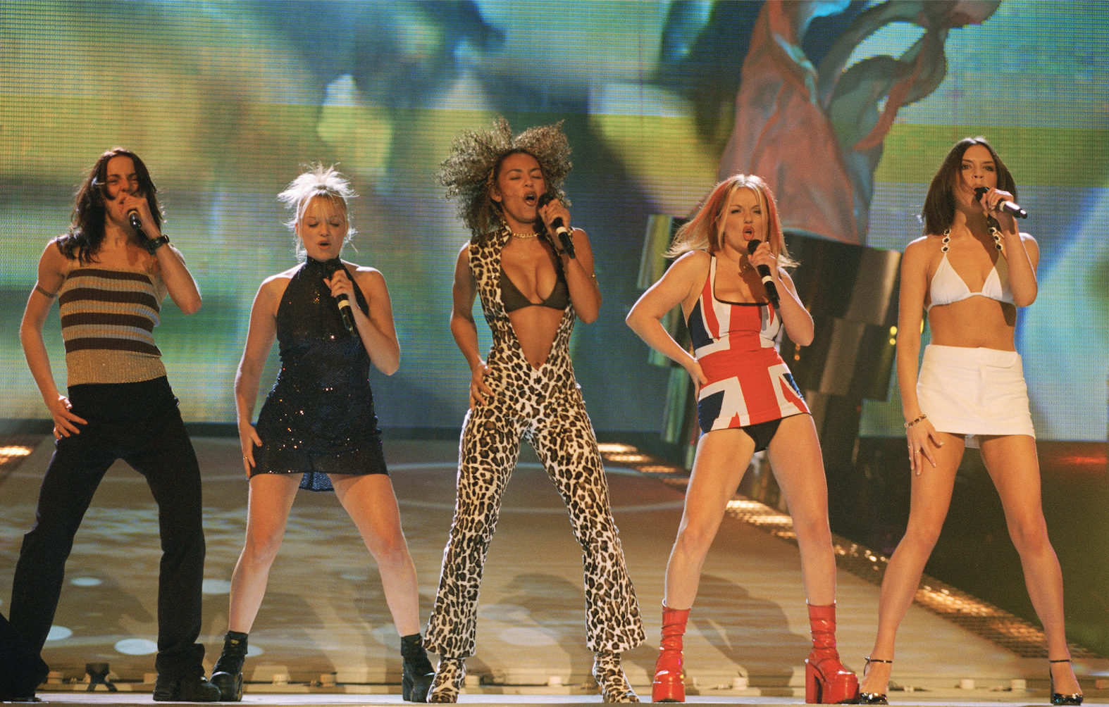 British all-girl singing group the Spice Girls at the Brit Awards, where they won in the Best Video and Best Single categories, 24th February 1997