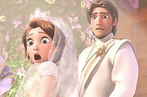 Flynn and Rapunzel look shocked on their wedding day