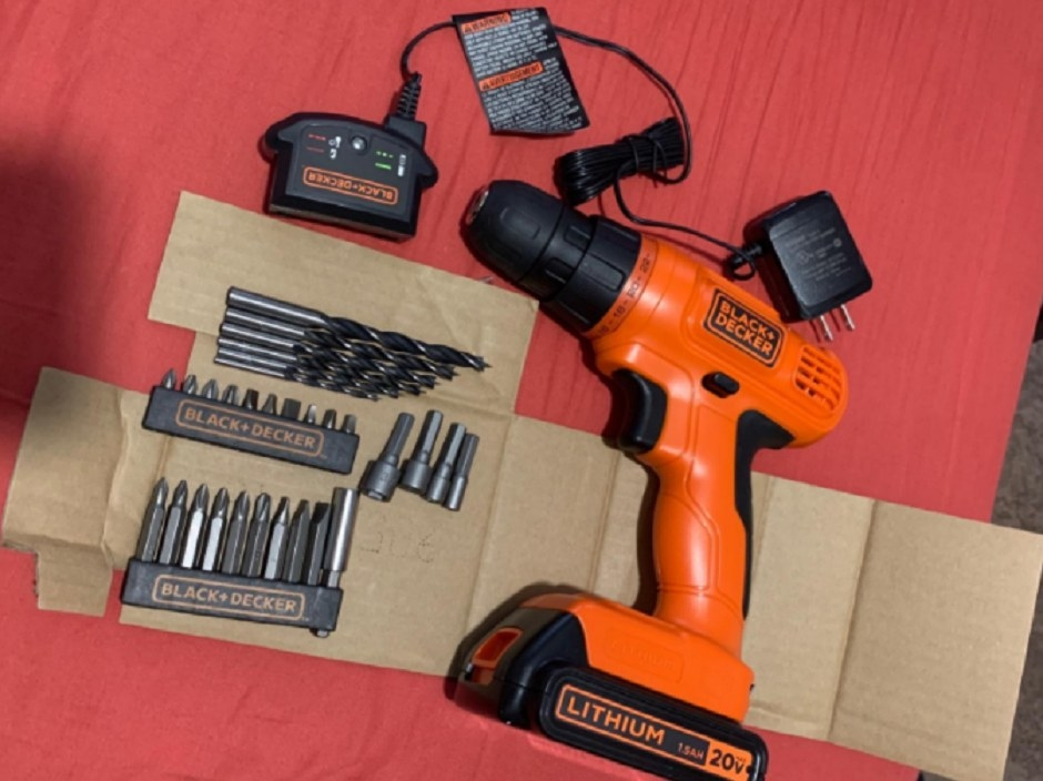 A cordless drill with 30-piece accessories and a lithium iron battery