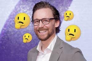four thinking emojis around Tom Hiddleston
