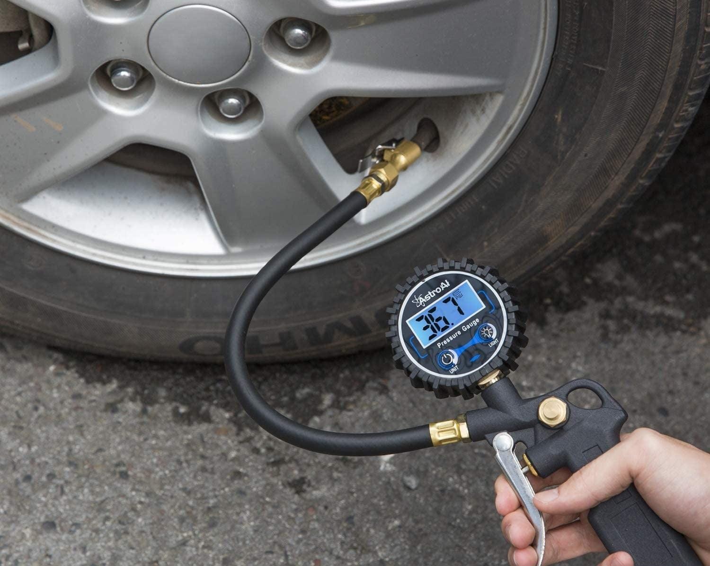A digital tire inflator with a pressure gauge