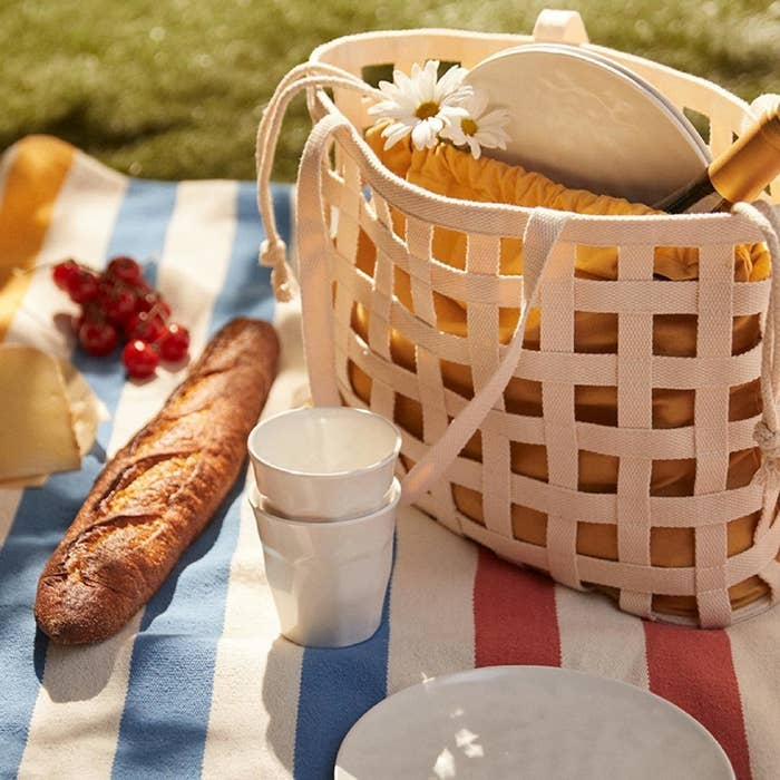 The bag and accessories on a picnic blanket