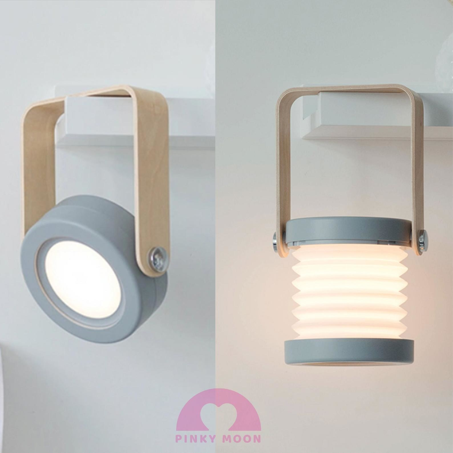 side by side image of the cordless portable lantern hanging from a shelf and fully extended