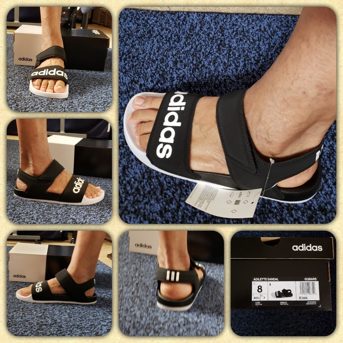 reviewer wearing the black and white logo sandals