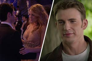 Dan Humphry holds onto Serena van der Woodsen's waist as they slow dance and Steve Rogers smiles down as he looks at Natasha Romanoff.