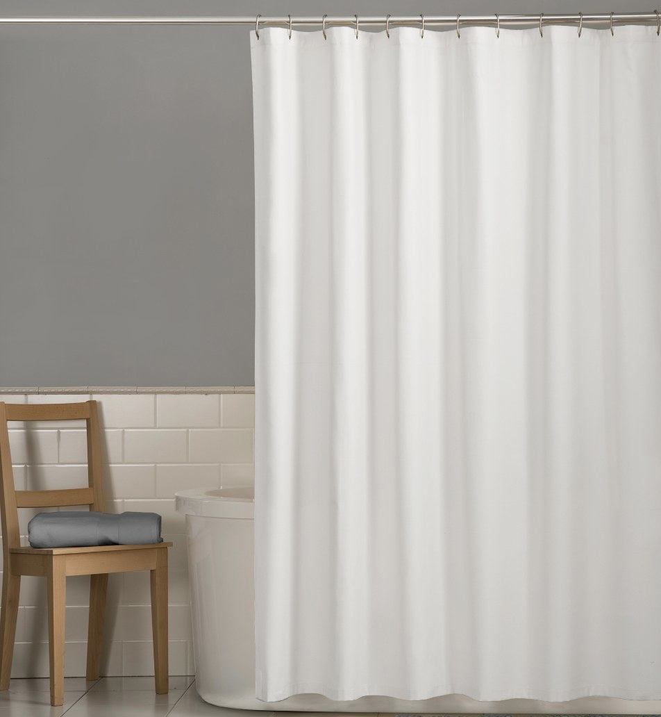 the white shower curtain