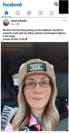 """Bustle wears a hat that says """"LIONS NOT SHEEP"""" in her Facebook post about standing """"for truth with my fellow patriots and freedom fighters in DC today"""""""