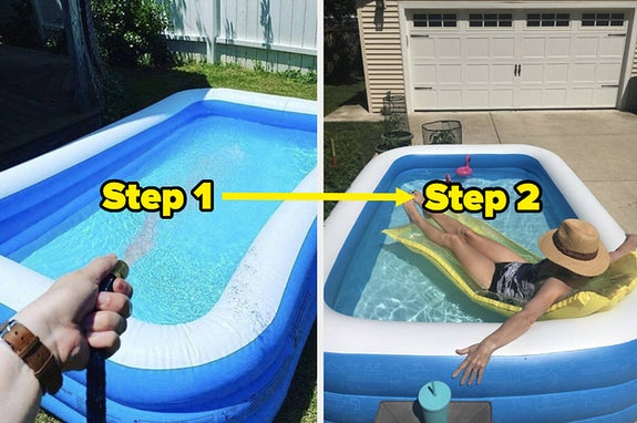L: Reviewer filling inflatable pool with their hose R: Reviewer relaxing in the inflatable pool